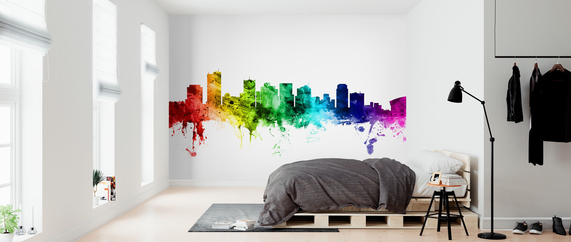 Phoenix Arizona Skyline Rainbow - Wallpaper - Bedroom