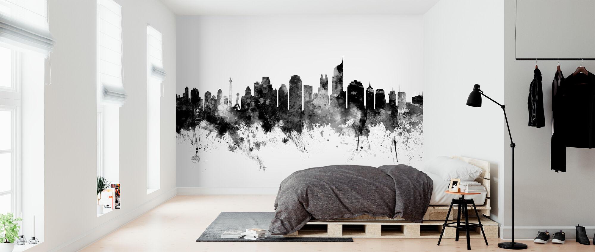 Jakarta Skyline, sort og hvid - Tapet - Soveværelse
