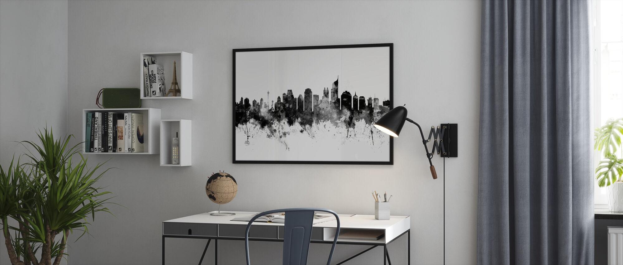 Jakarta Skyline, svart och vitt - Inramad tavla - Kontor