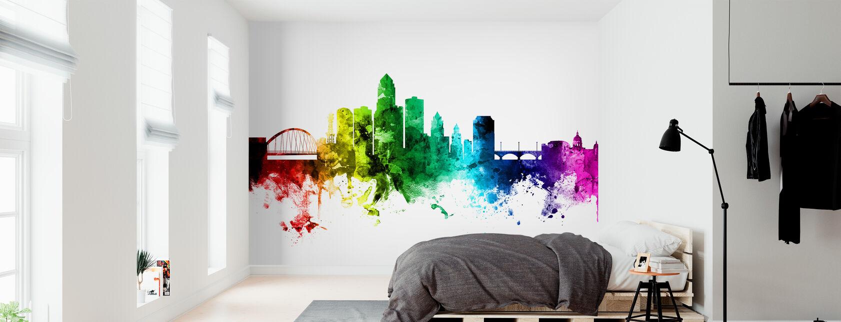 Des Moines Iowa Skyline Rainbow - Wallpaper - Bedroom