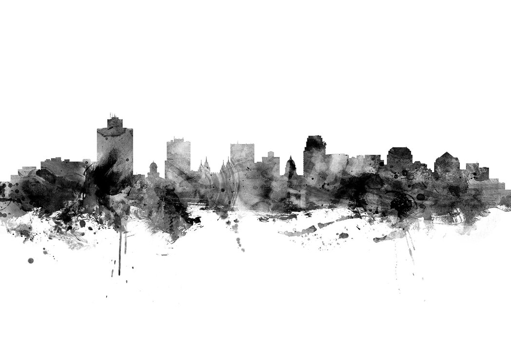 salt lake city skyline black and white