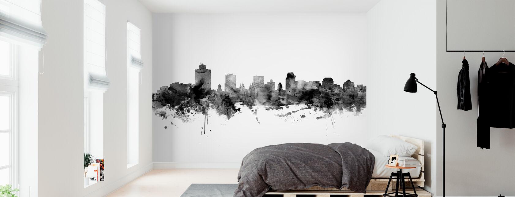 Salt Lake City Skyline, black and white - Wallpaper - Bedroom