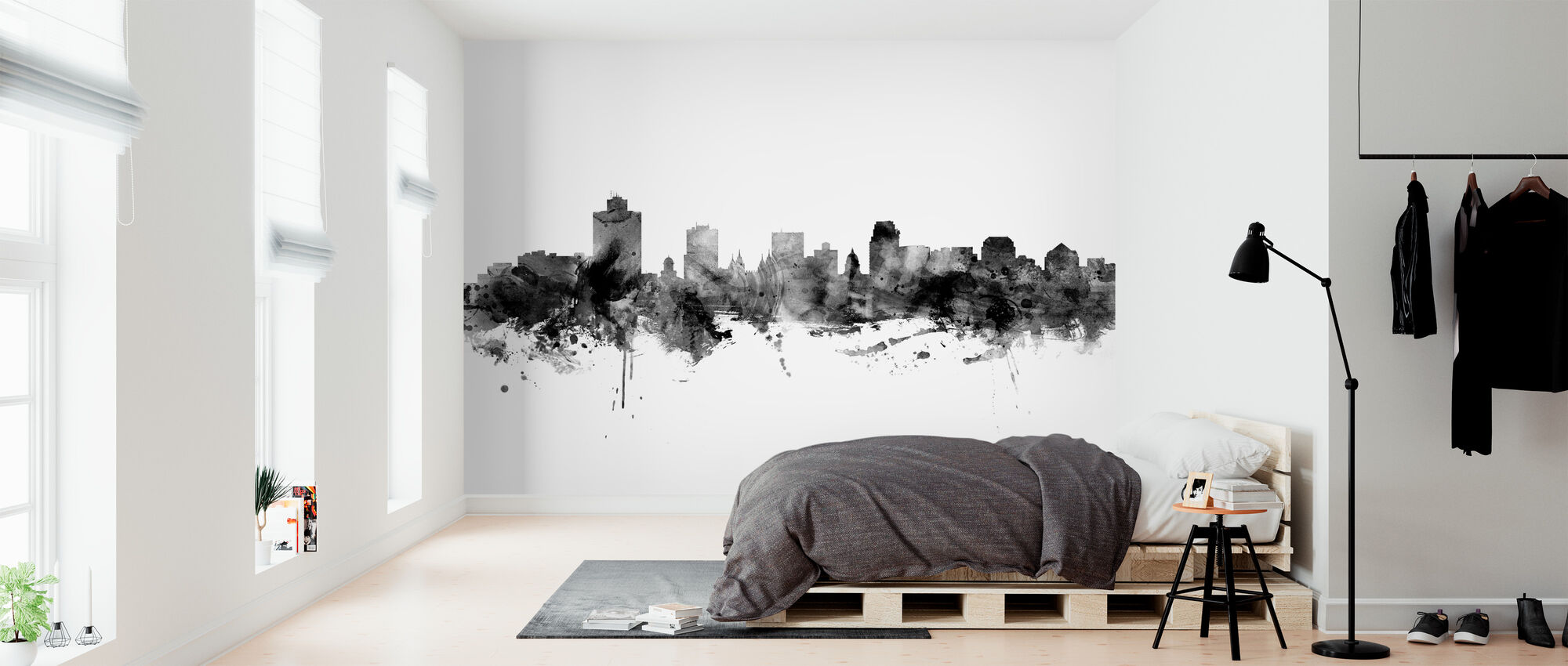 Salt Lake City Skyline, zwart-wit - Behang - Slaapkamer