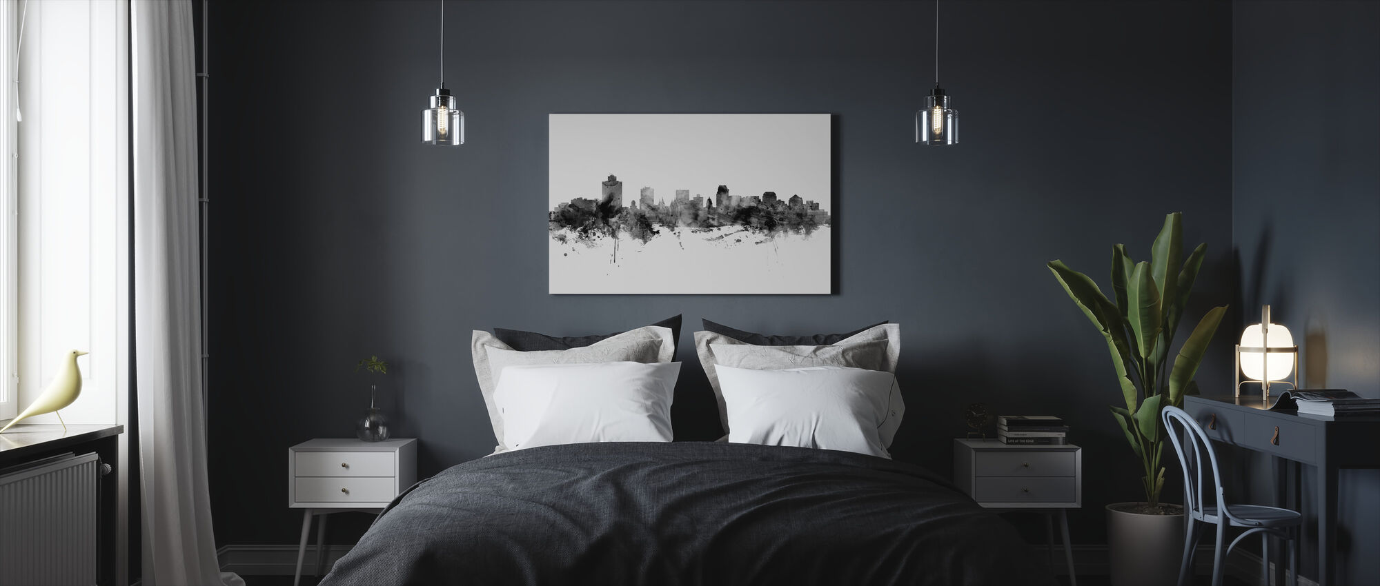 Salt Lake City Skyline, black and white - Canvas print - Bedroom