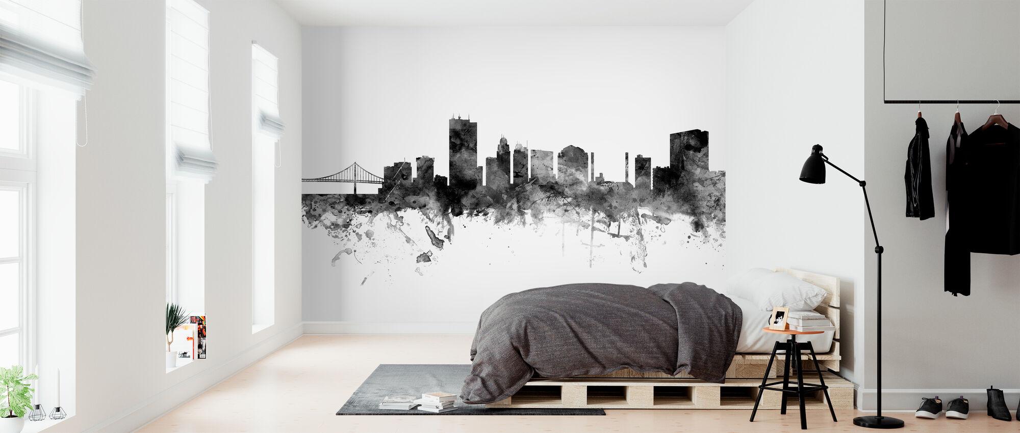 Toledo Ohio Skyline, black and white - Wallpaper - Bedroom