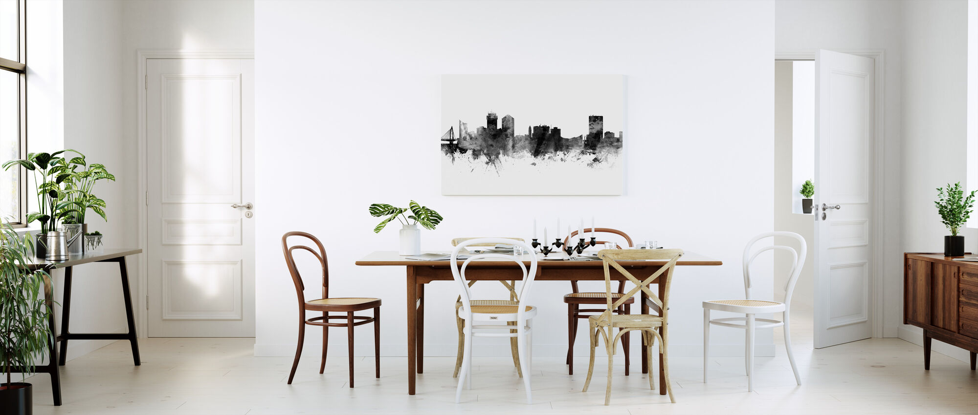 Wichita Kansas Skyline, black and white - Canvas print - Kitchen