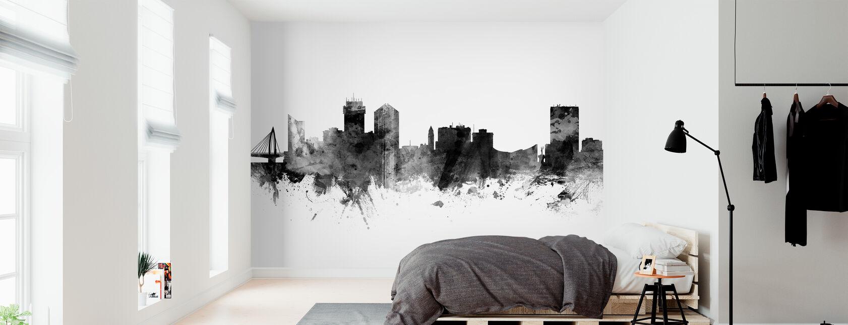 Wichita Kansas Skyline, svart och vitt - Tapet - Sovrum