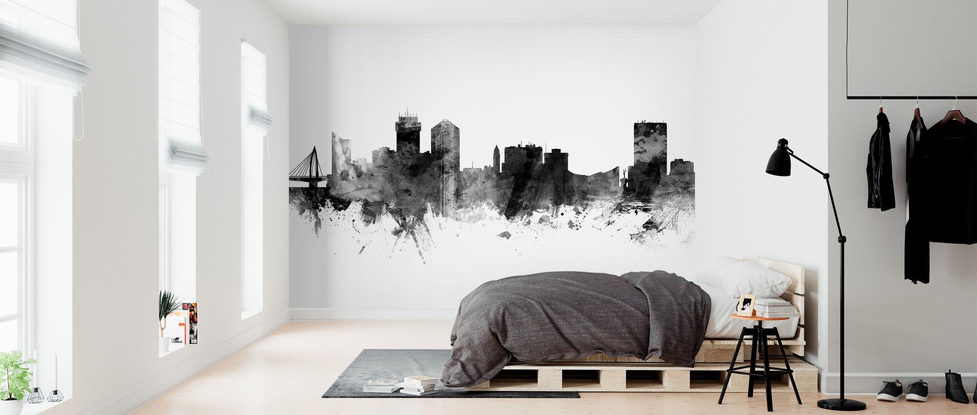 Wichita Kansas Skyline, black and white - Wallpaper - Bedroom