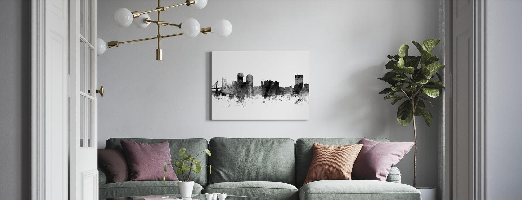 Wichita Kansas Skyline, black and white - Canvas print - Living Room