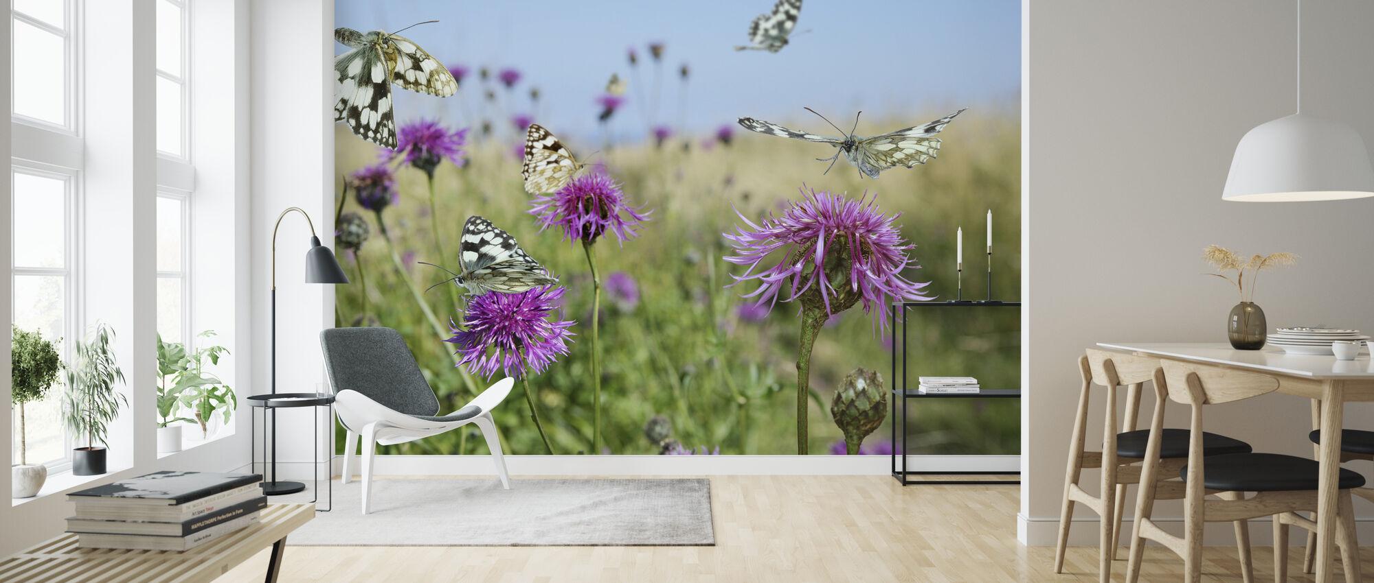 Gemarmerde witte vlinders - Behang - Woonkamer