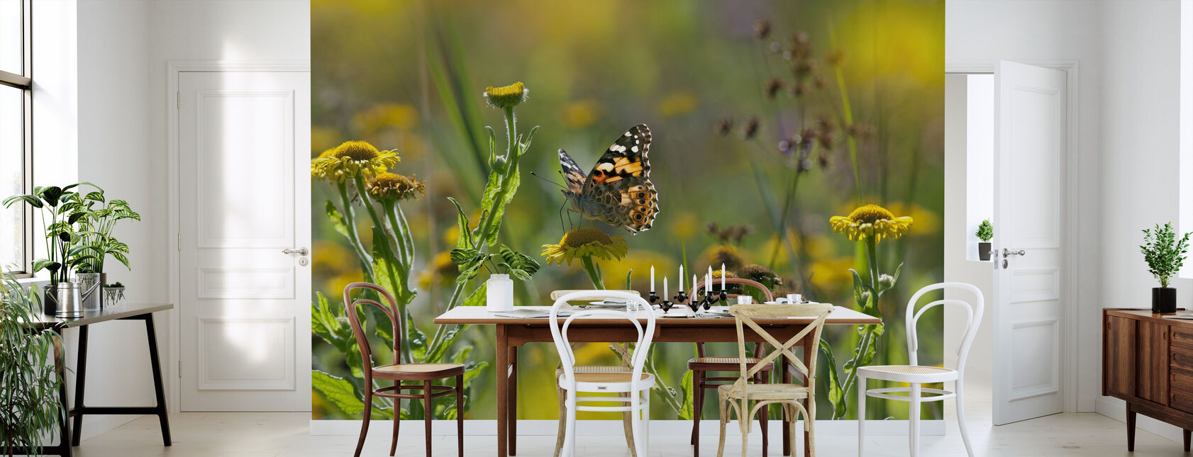 Malowane Pani Motyl - Tapeta - Kuchnia