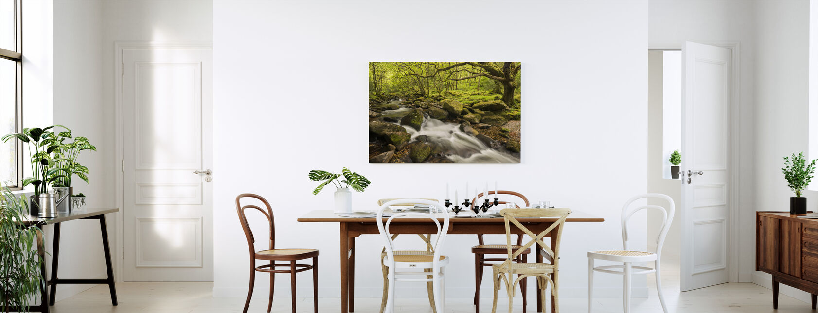 River Plym in Dewerstone Wood, Devon, England, UK - Canvas print - Kitchen