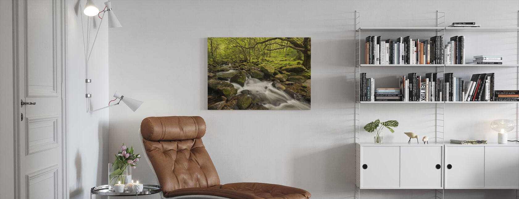 River Plym in Dewerstone Wood, Devon, England, UK - Canvas print - Living Room