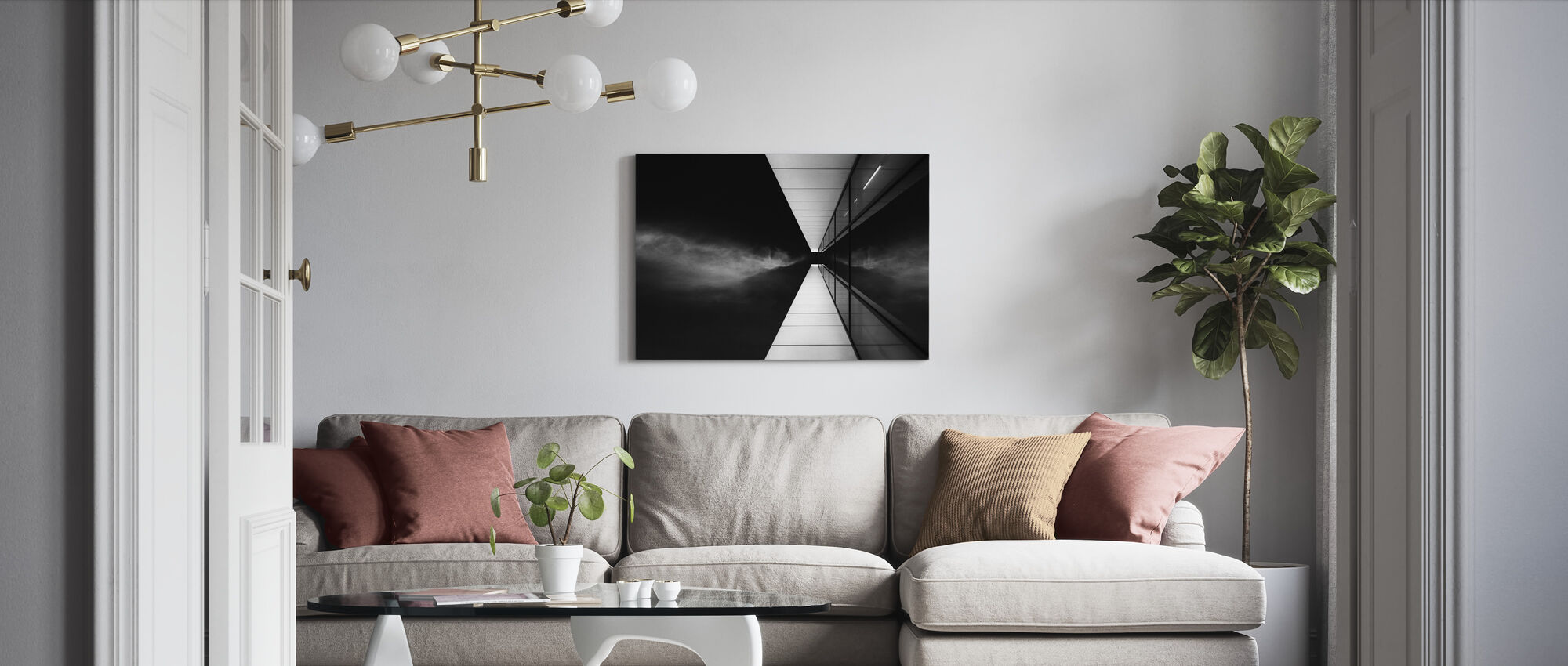 Cloud Attack, black and white - Canvas print - Living Room