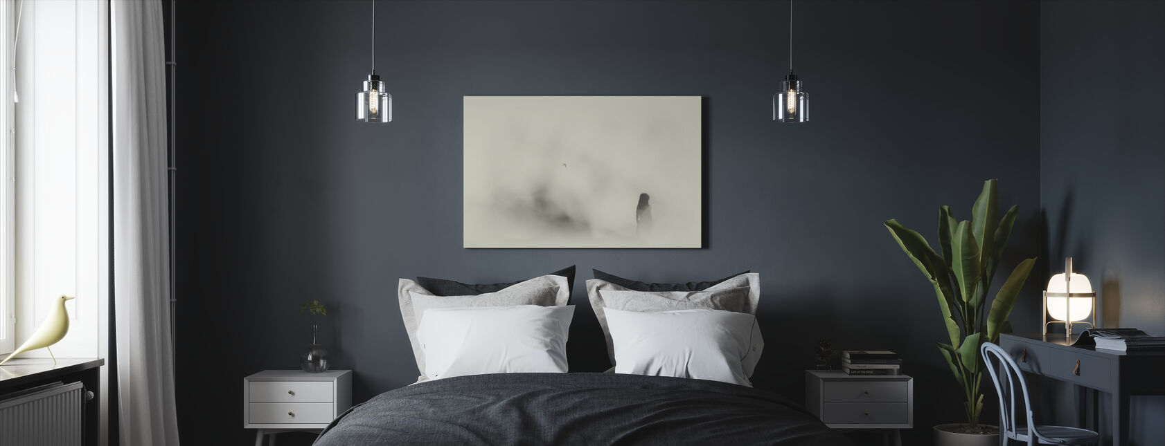 Silent Moment, black and white - Canvas print - Bedroom