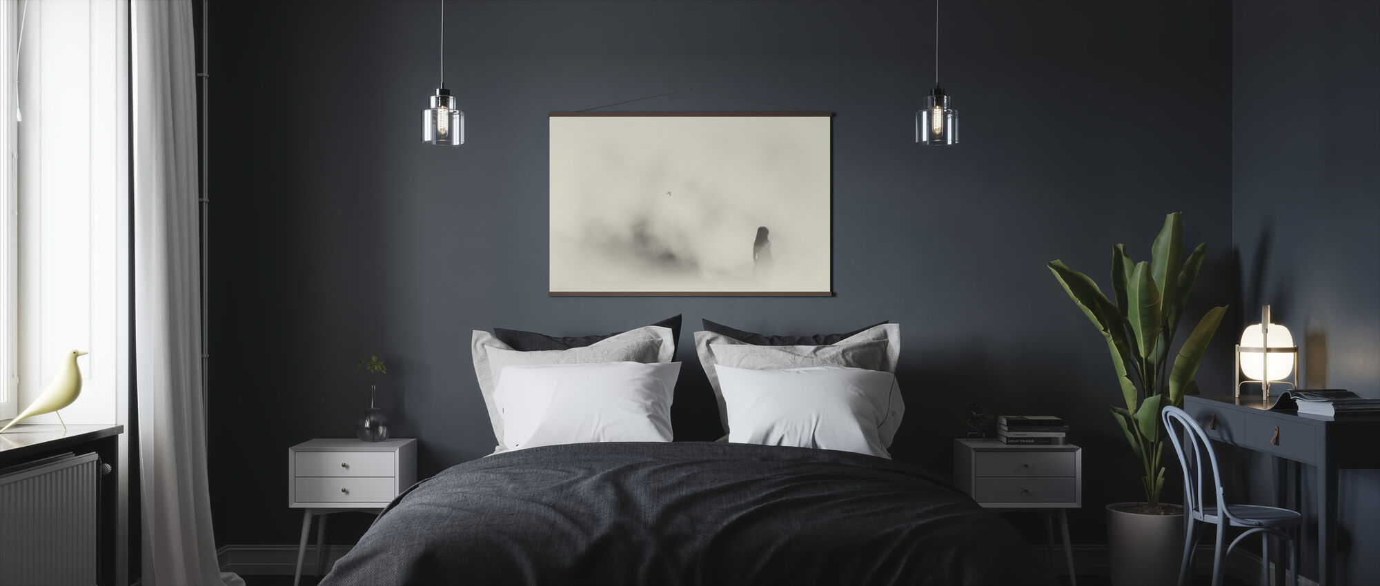 Silent Moment, black and white - Poster - Bedroom