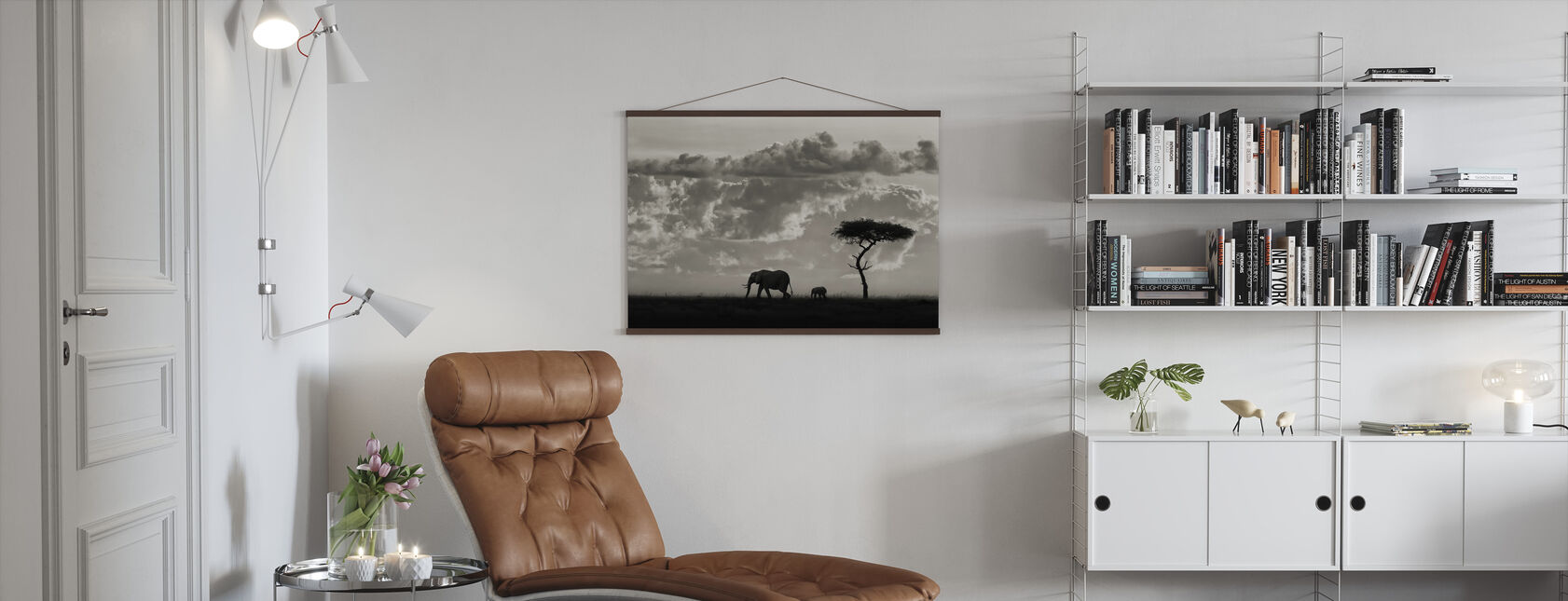 Silhouettes of Mara, black and white - Poster - Living Room