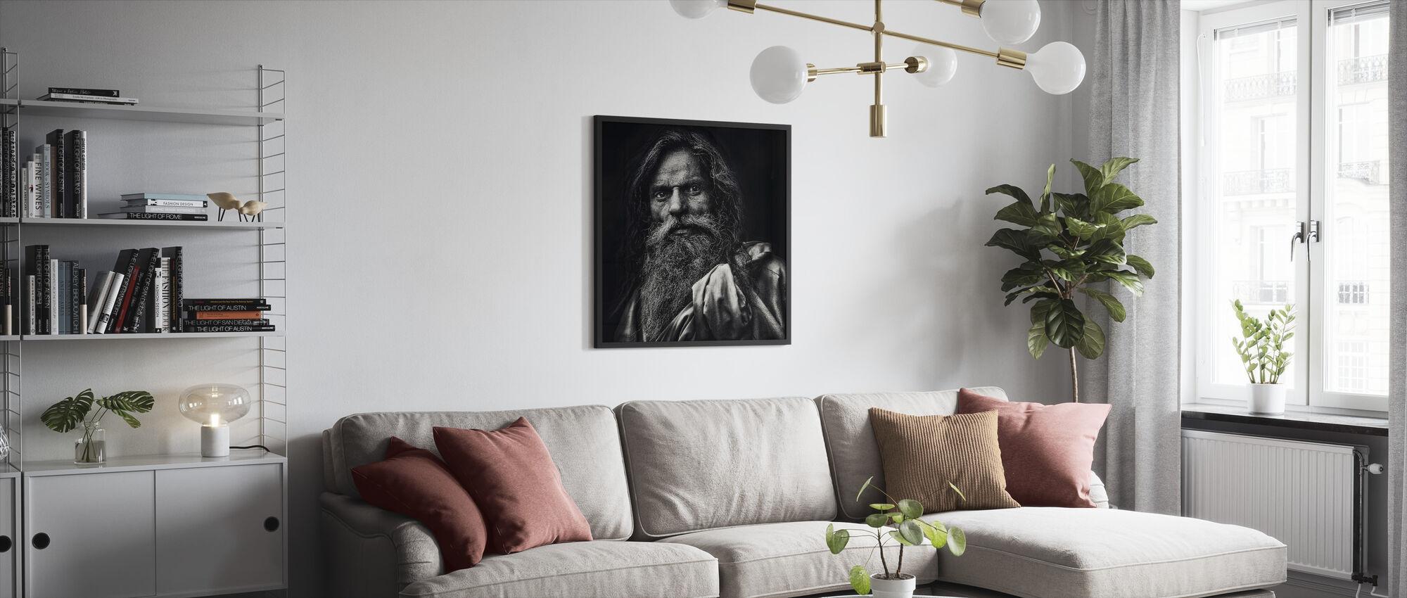Manden fra Agra, sort og hvid - Indrammet billede - Stue