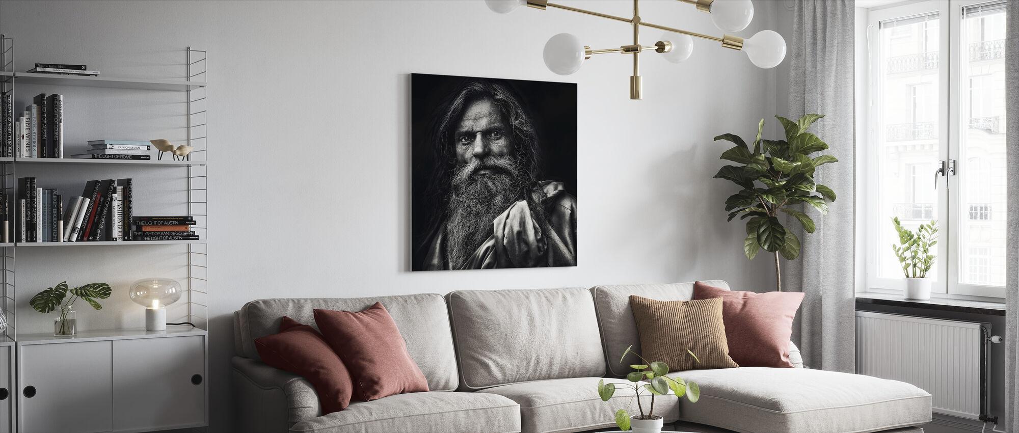 De man uit Agra, zwart-wit - Canvas print - Woonkamer