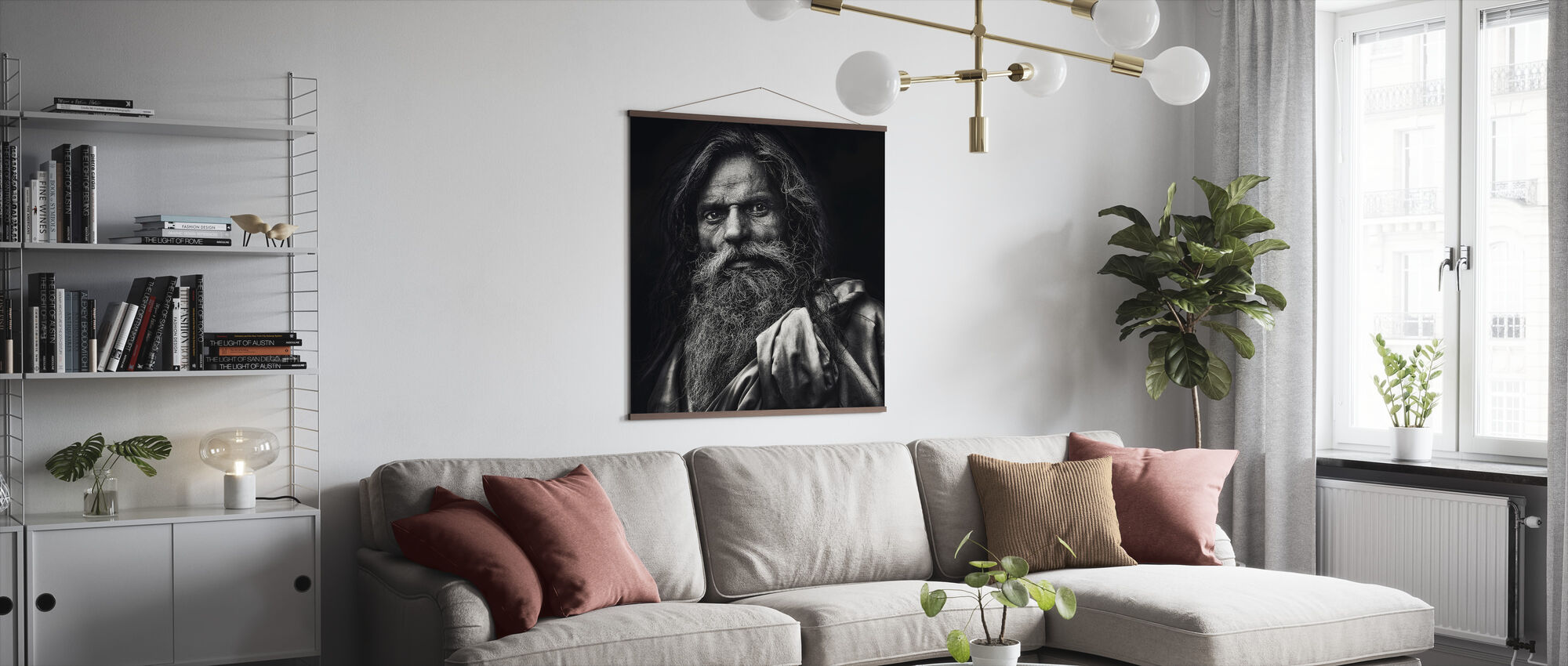 The Man from Agra, black and white - Poster - Living Room