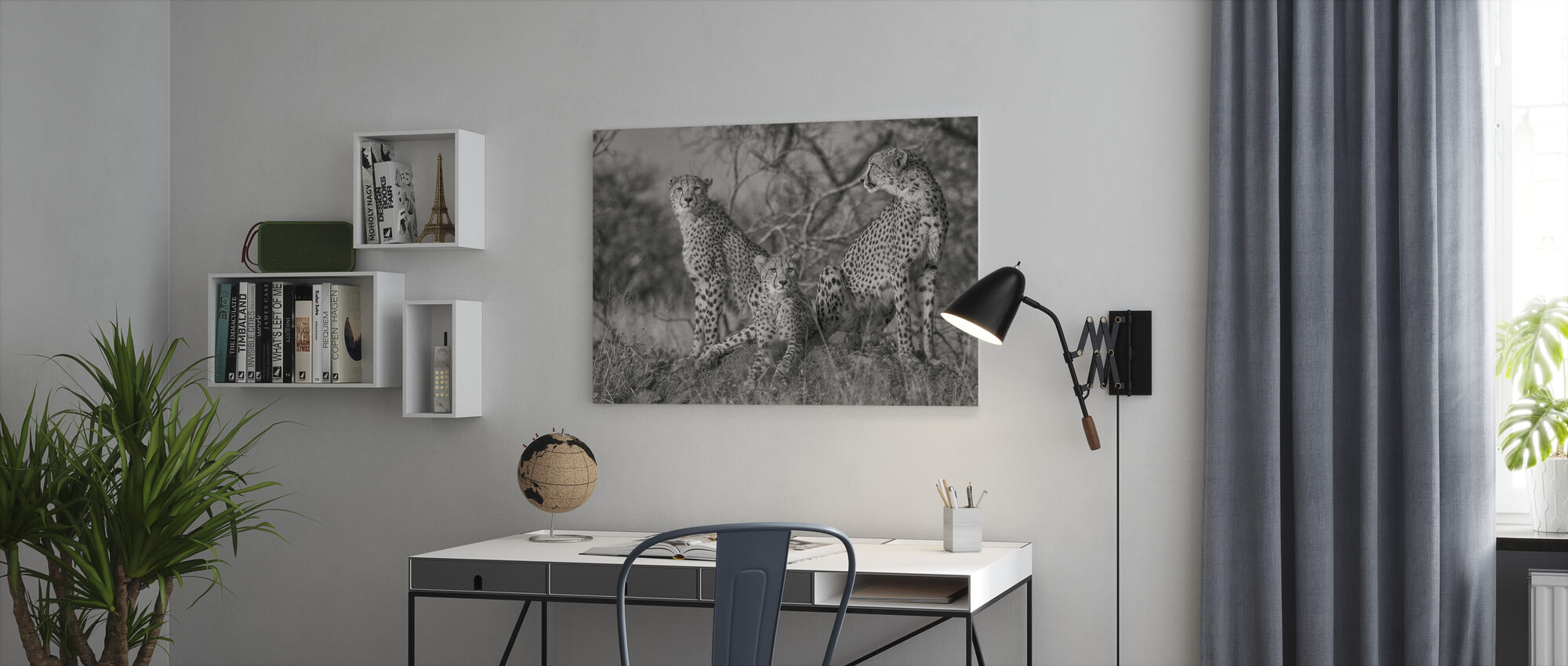 Three Cats, black and white - Canvas print - Office