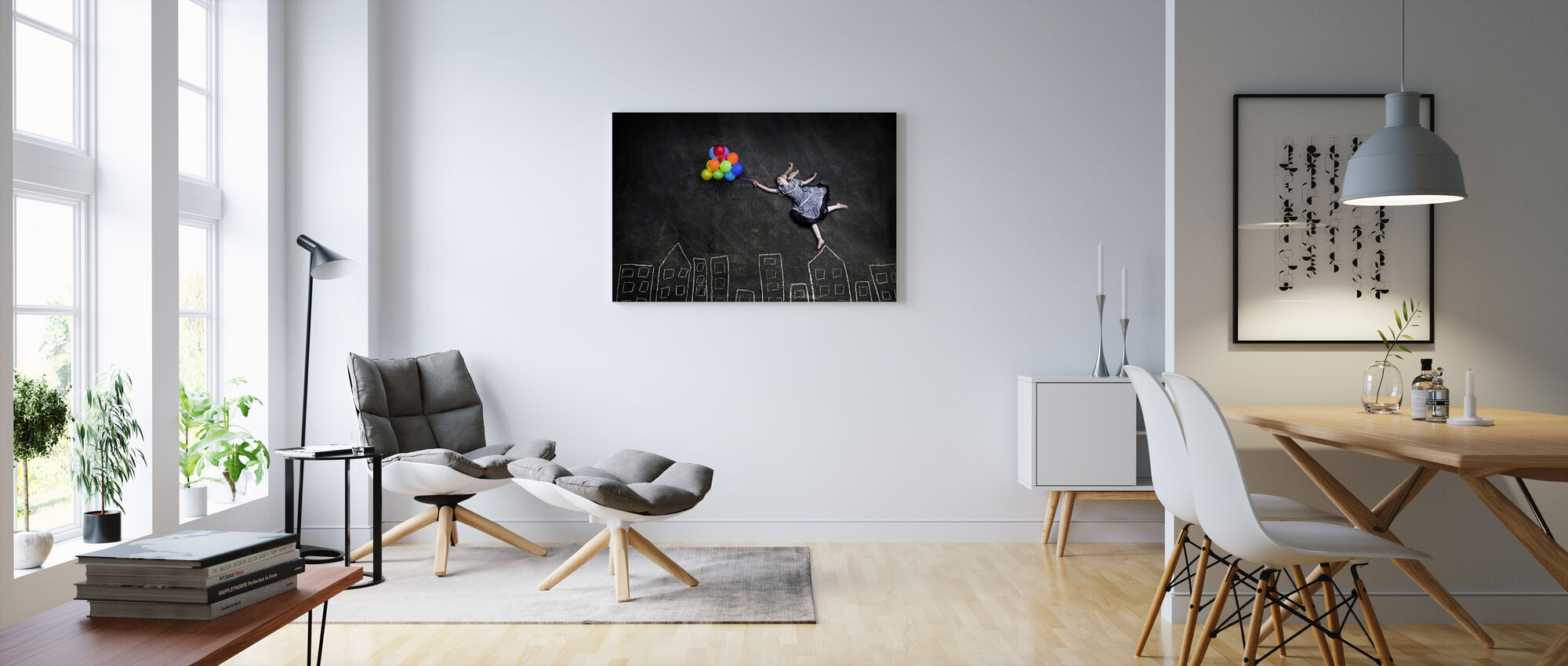 Flyvende på hustagene - Billede på lærred - Stue