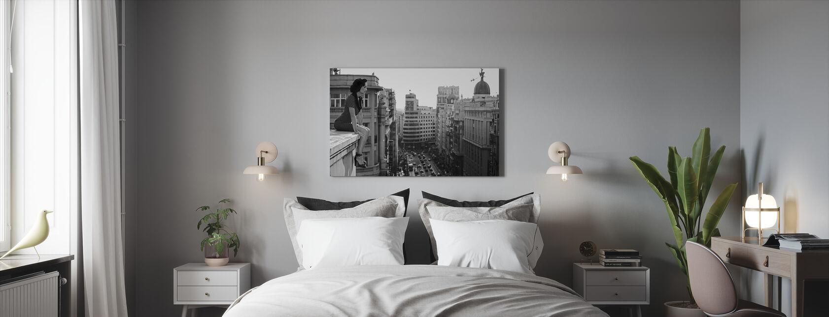 Mad Madrid, negra y blanca - Lienzo - Dormitorio