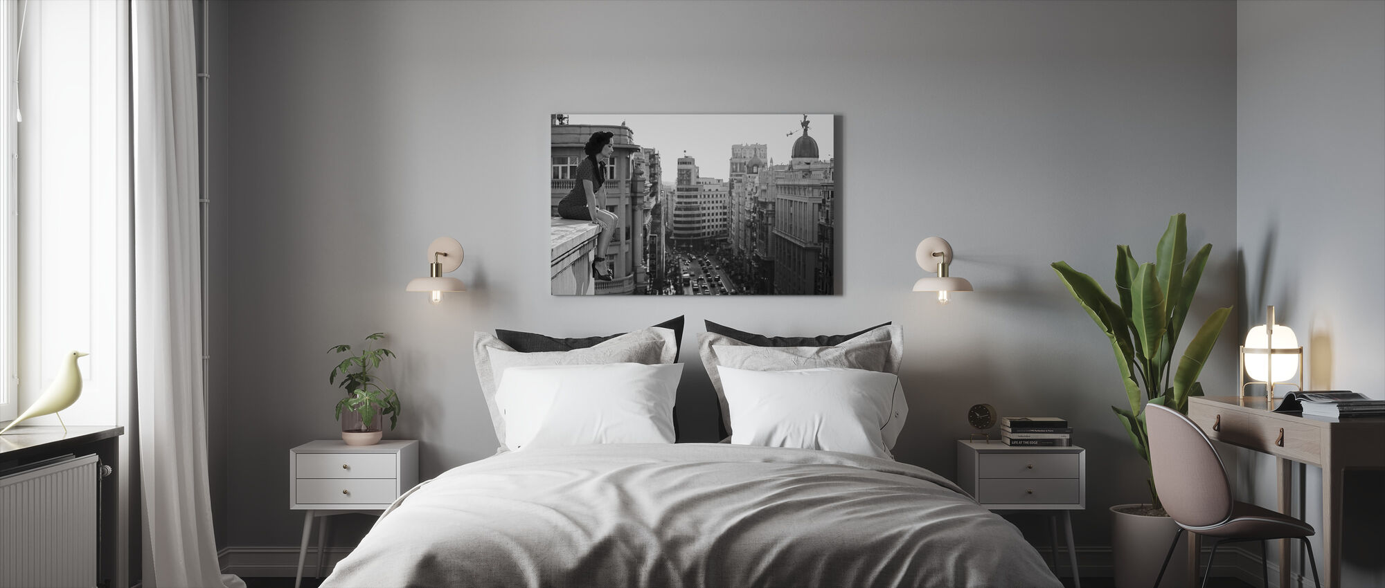 Mad Madrid, black and white - Canvas print - Bedroom
