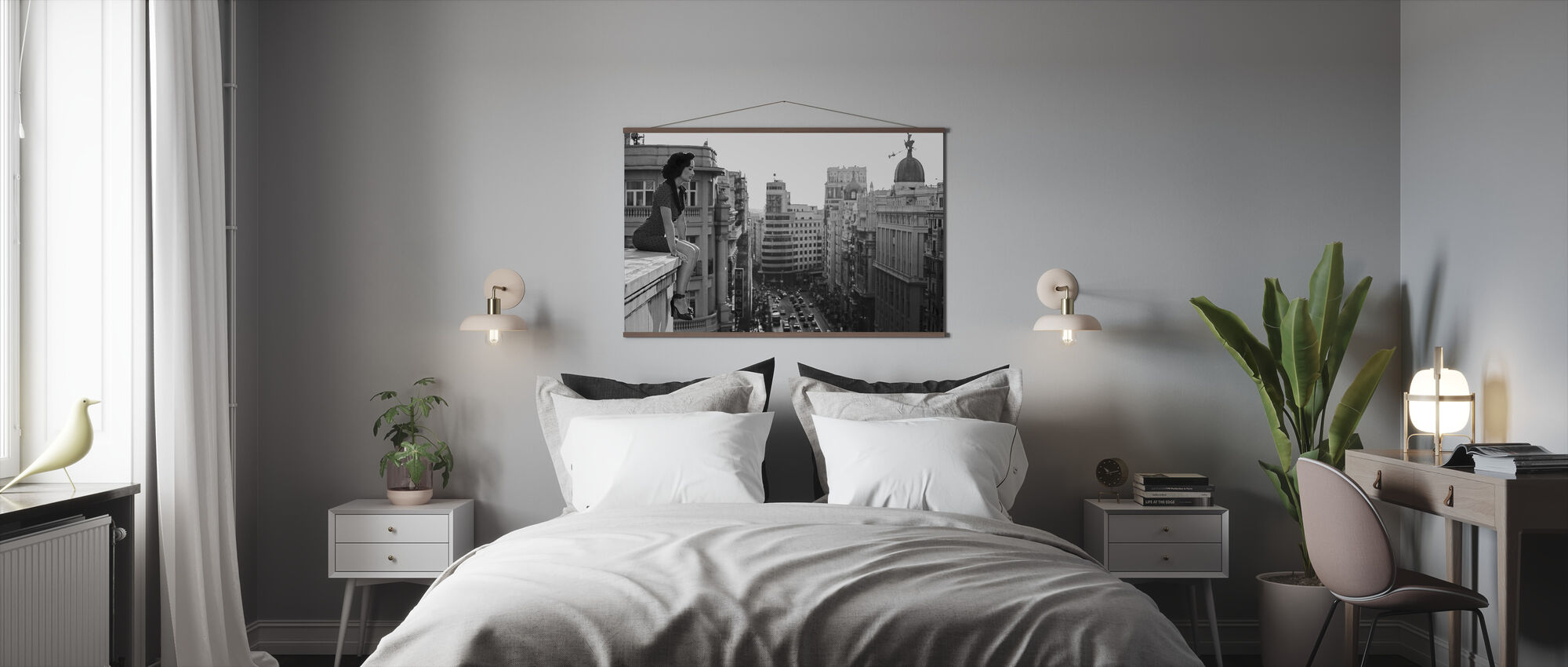 Mad Madrid, black and white - Poster - Bedroom
