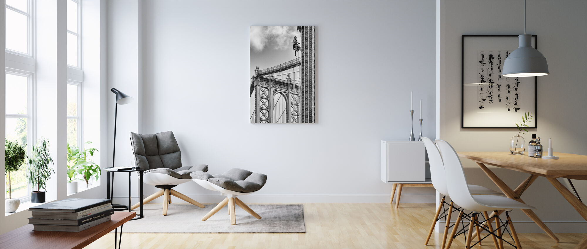 Skrót do Brooklynu, czarno-biały - Obraz na płótnie - Pokój dzienny