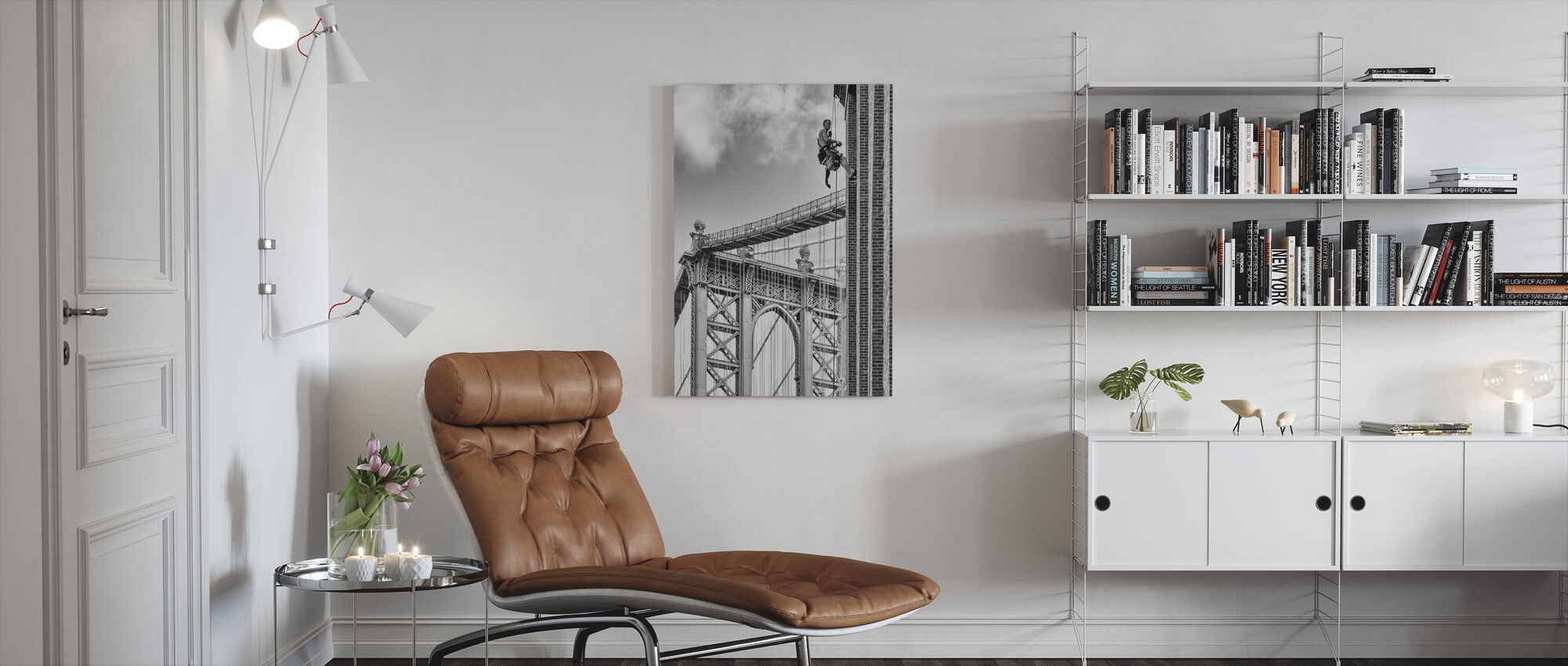 Shortcut to Brooklyn, black and white - Canvas print - Living Room