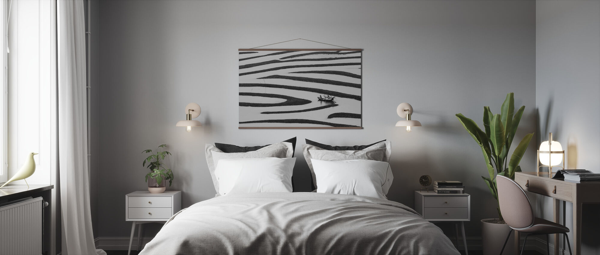 The Beauty of Simple Life, black and white - Poster - Bedroom
