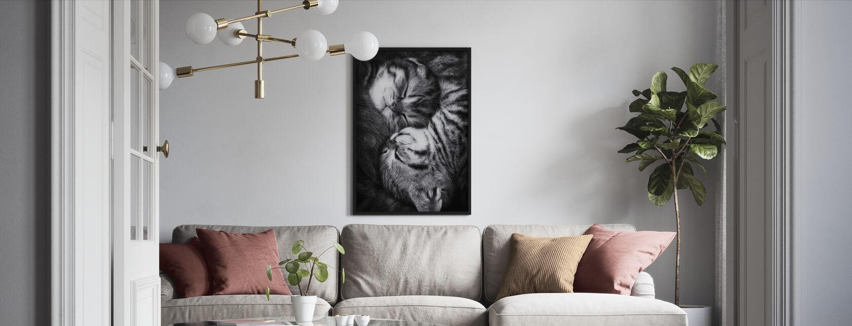 Yin ja Yang, mustavalkoinen - Kehystetty kuva - Olohuone