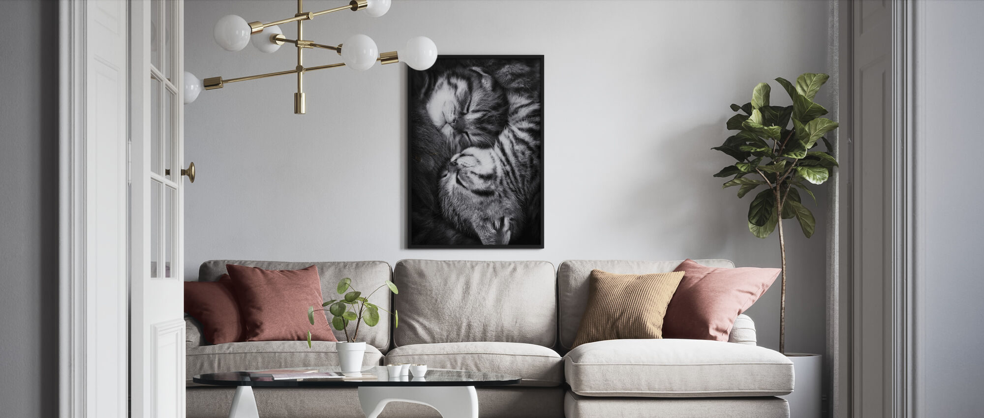 Yin en Yang, zwart-wit - Ingelijste print - Woonkamer
