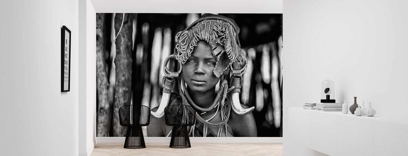 Mursi, negra y blanca - Papel pintado - Corredor