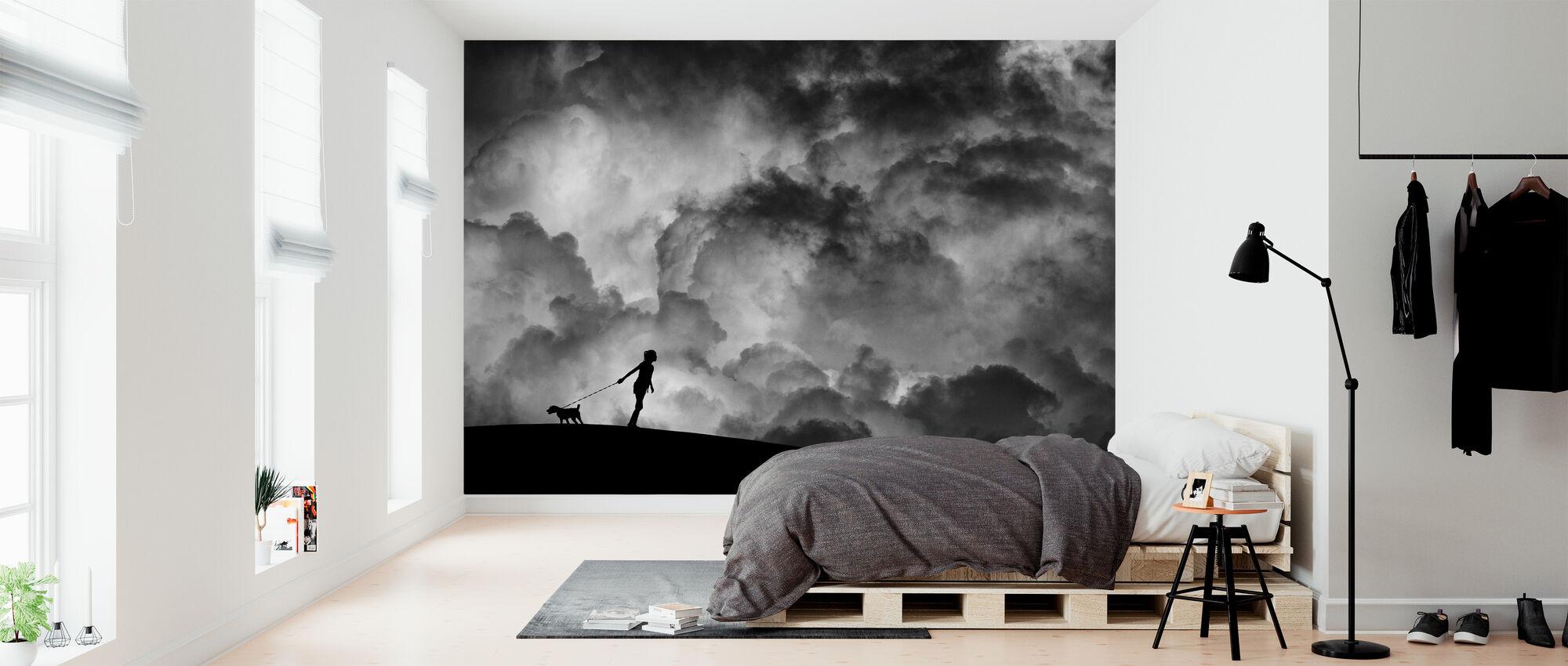 Alkusoitto Unelmalle, mustavalkoinen - Tapetti - Makuuhuone