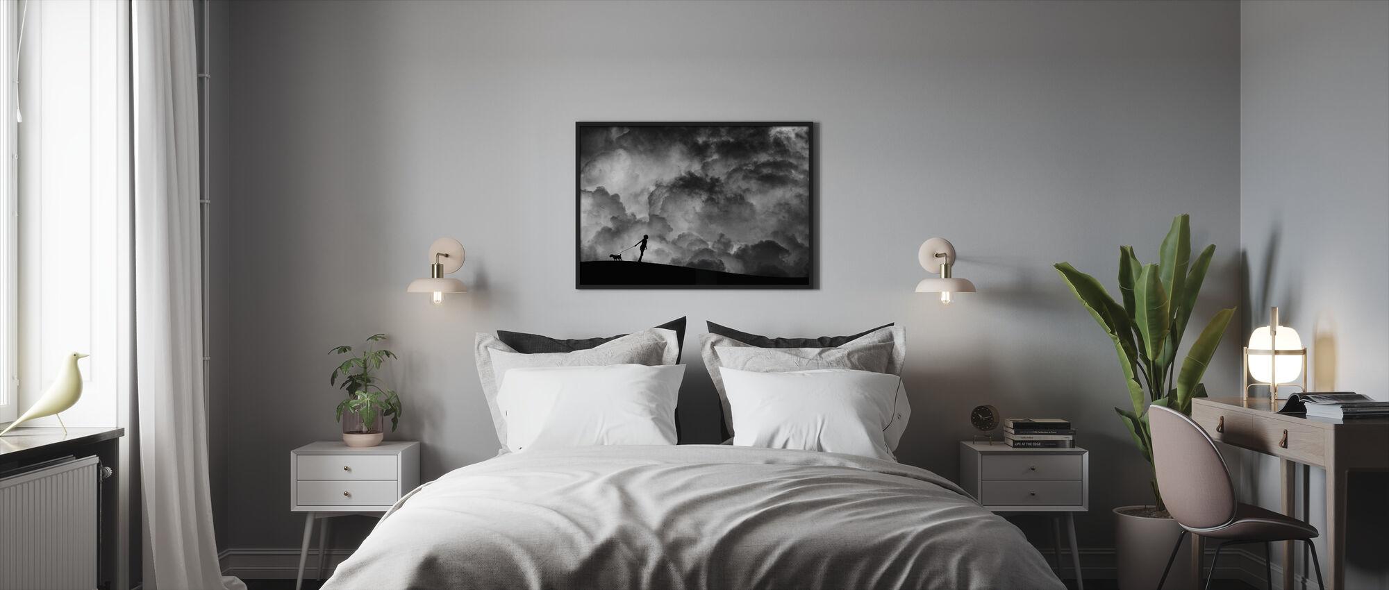 Alkusoitto Unelmalle, mustavalkoinen - Kehystetty kuva - Makuuhuone