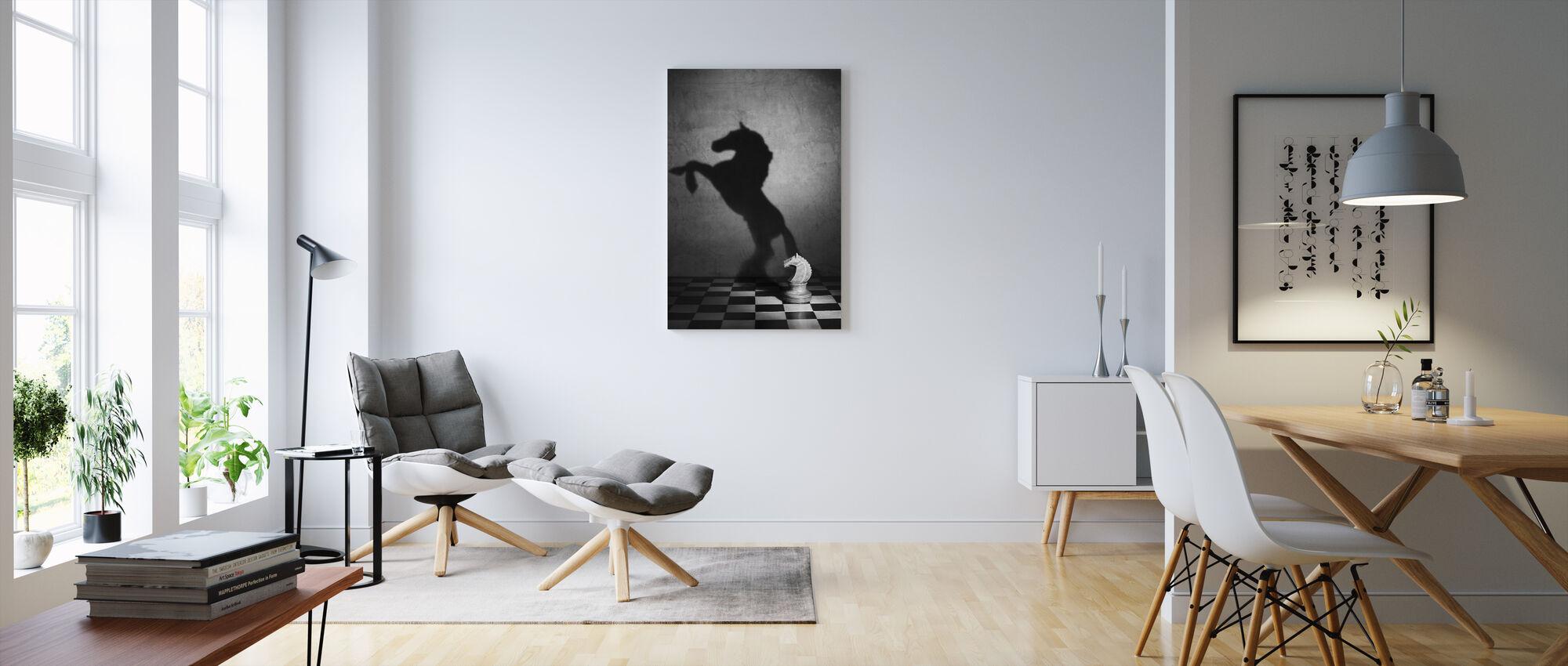 En Mustangs sjæl, sort og hvid - Billede på lærred - Stue