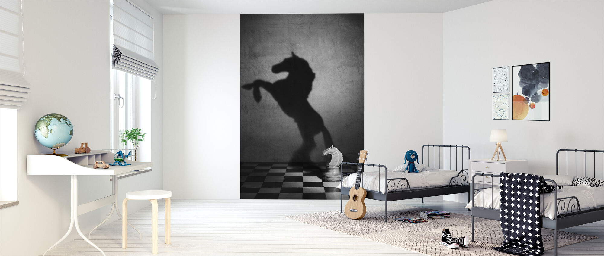 The Soul of a Mustang, black and white - Wallpaper - Kids Room