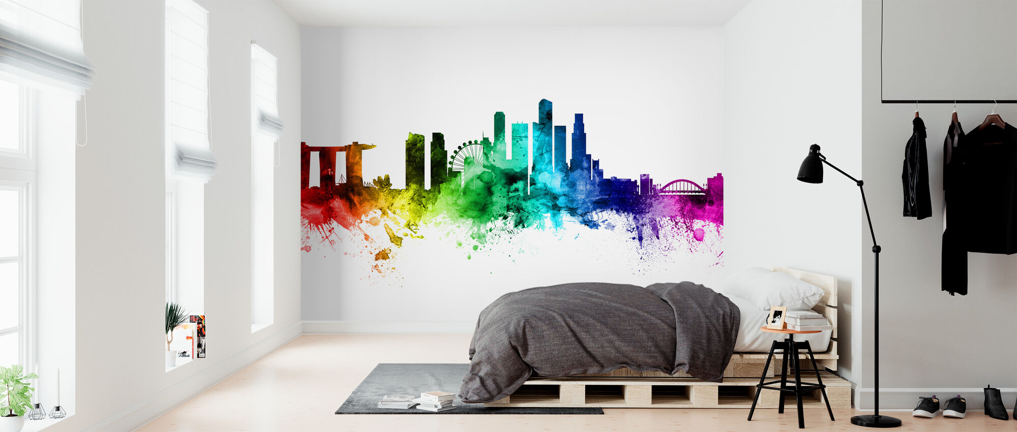 Singapore Skyline Rainbow - Wallpaper - Bedroom