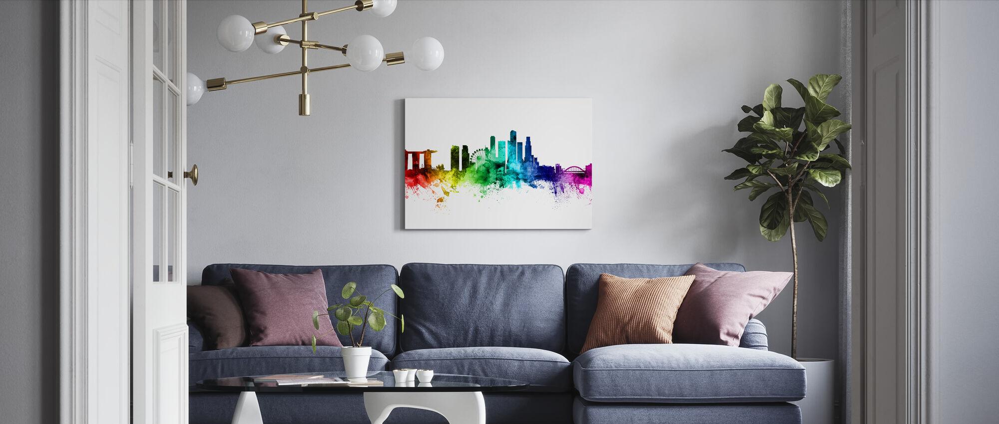 Singapore Skyline - Lerretsbilde - Stue