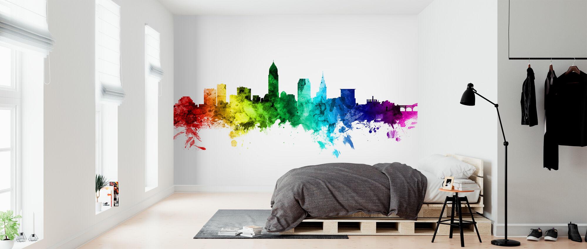 Cleveland Ohio Skyline Rainbow - Wallpaper - Bedroom