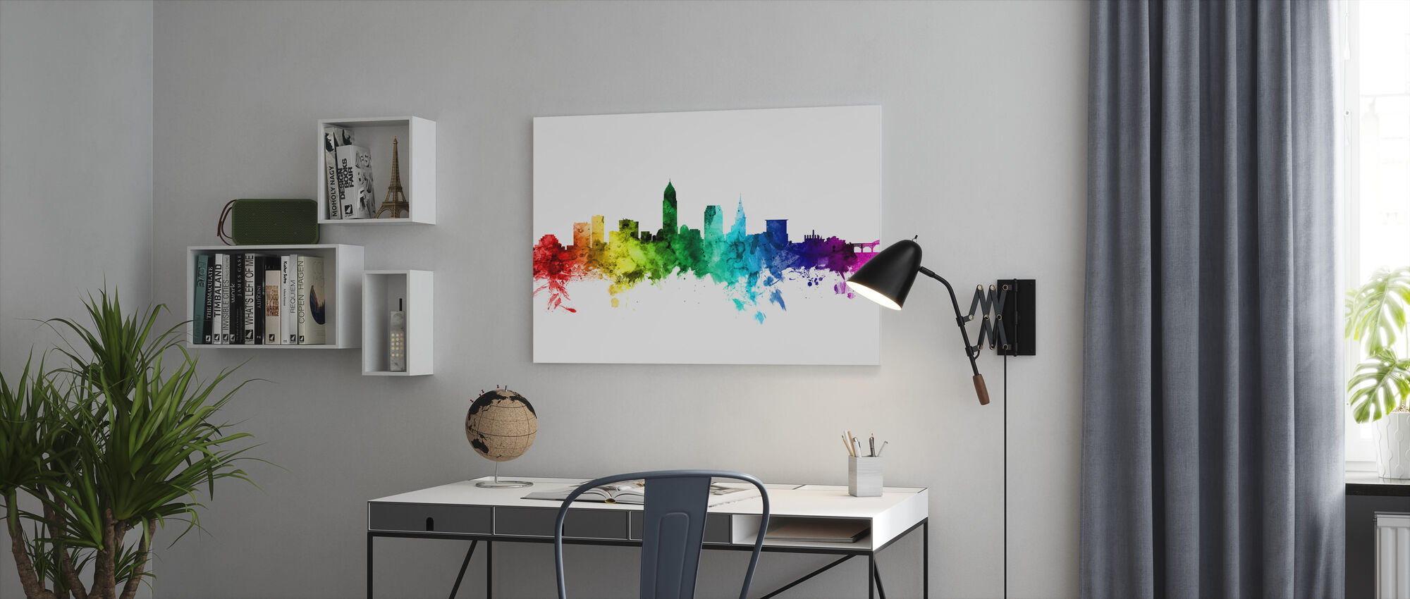 Cleveland Ohio Skyline Regenboog - Canvas print - Kantoor