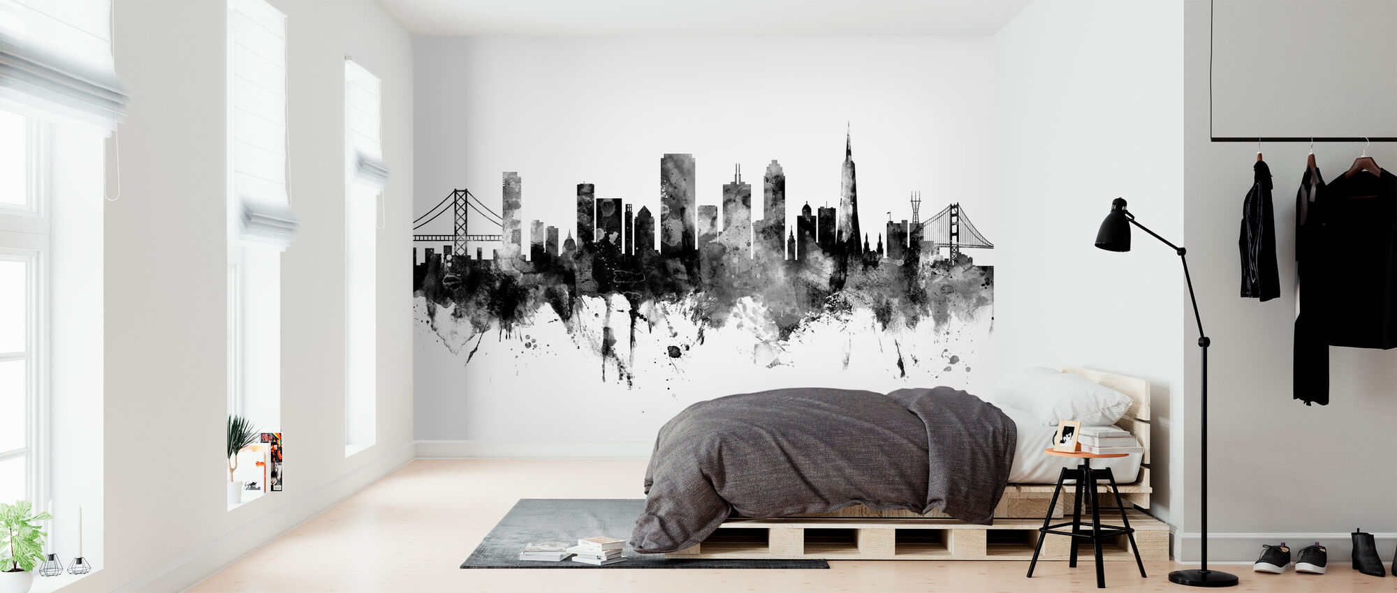 San Francisco City Skyline, black and white - Wallpaper - Bedroom