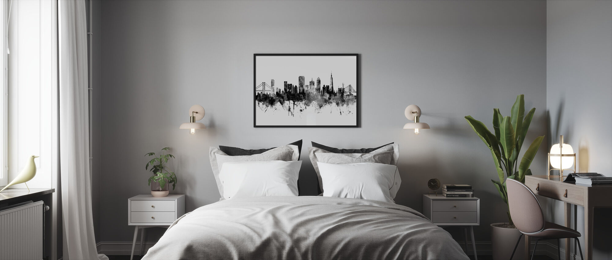 San Francisco City Skyline, black and white - Framed print - Bedroom
