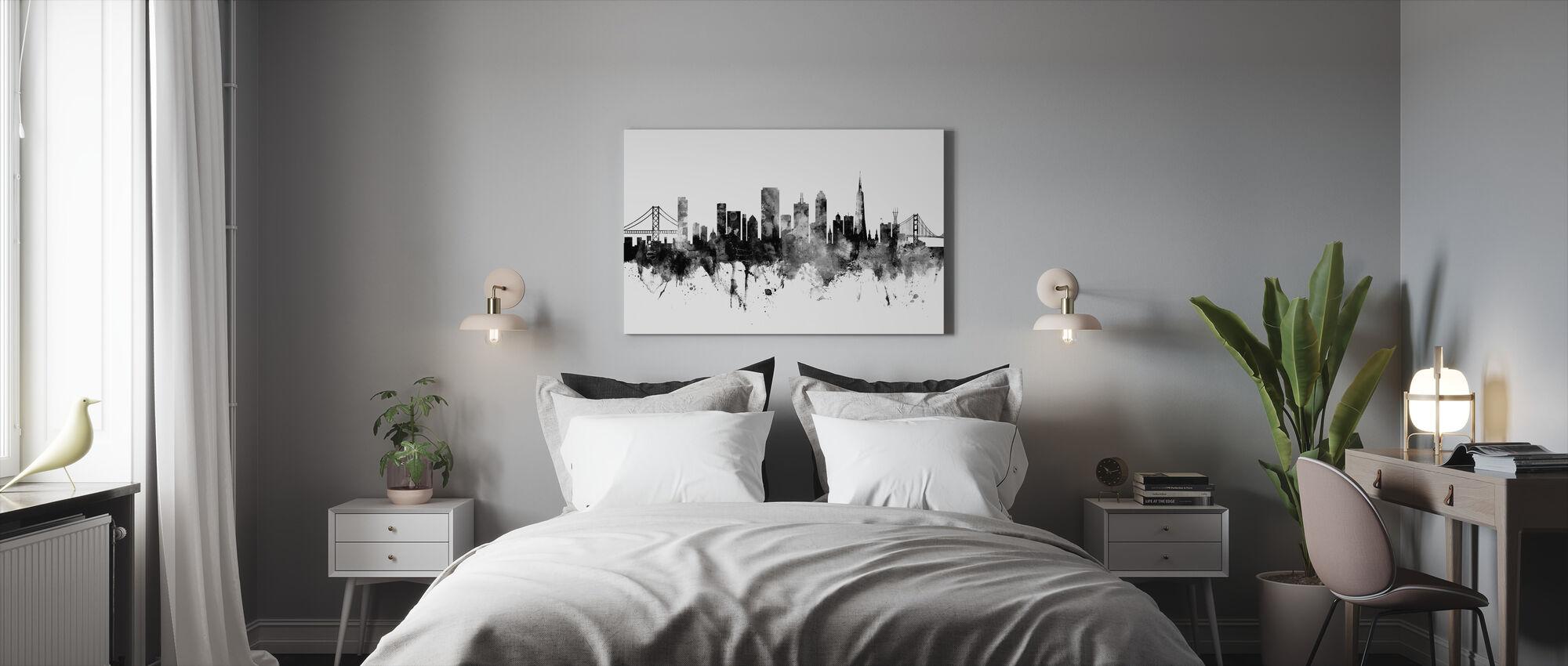 San Francisco City Skyline, black and white - Canvas print - Bedroom