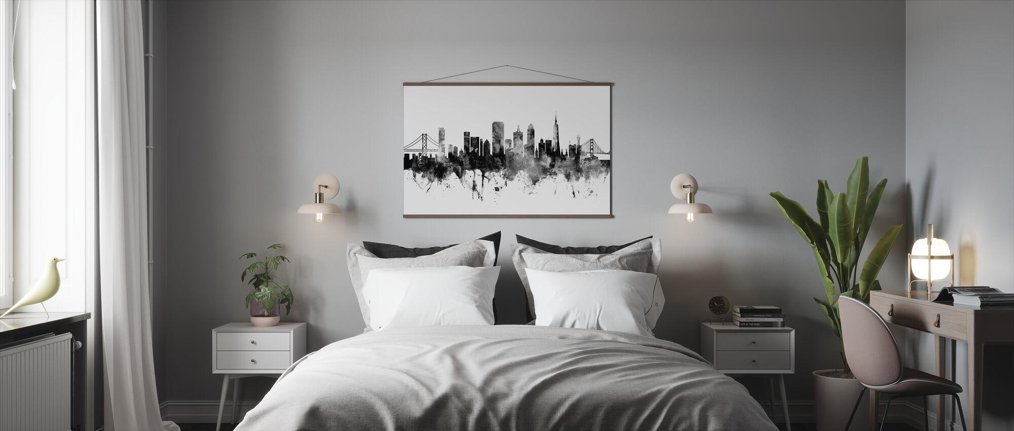 San Francisco City Skyline, black and white - Poster - Bedroom