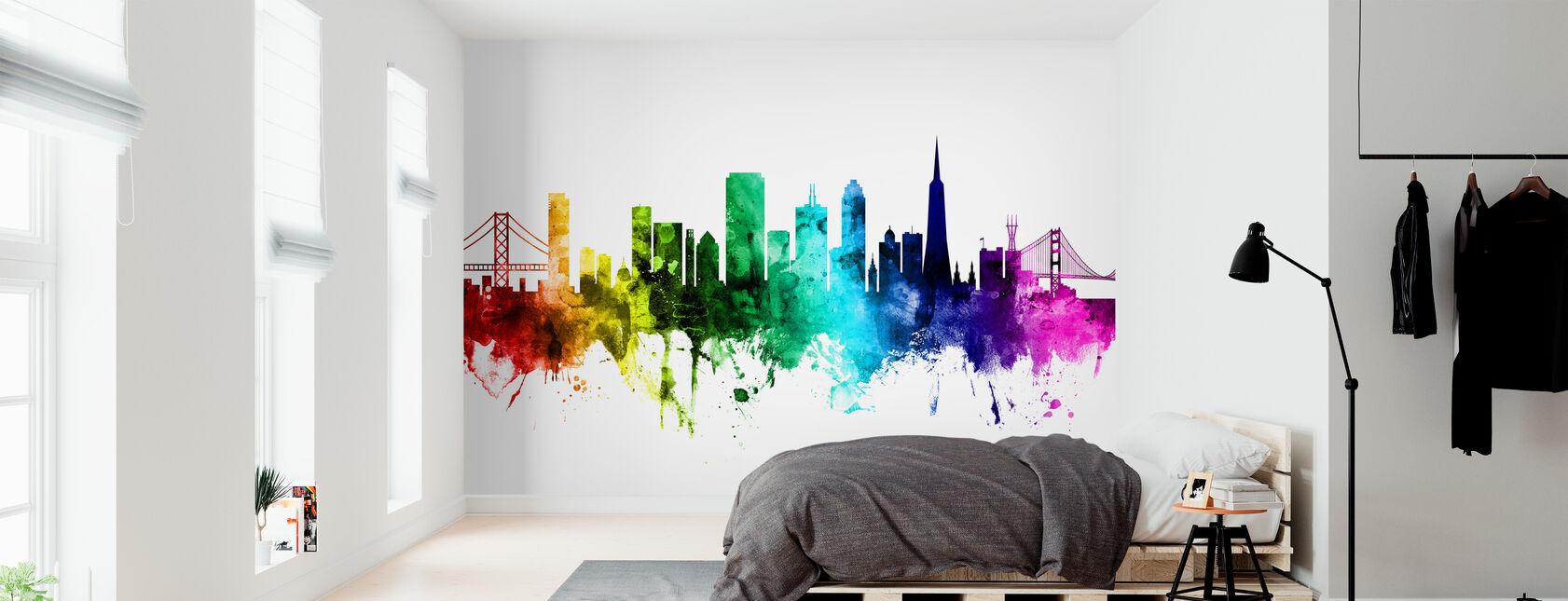 San Francisco City Skyline Rainbow - Wallpaper - Bedroom