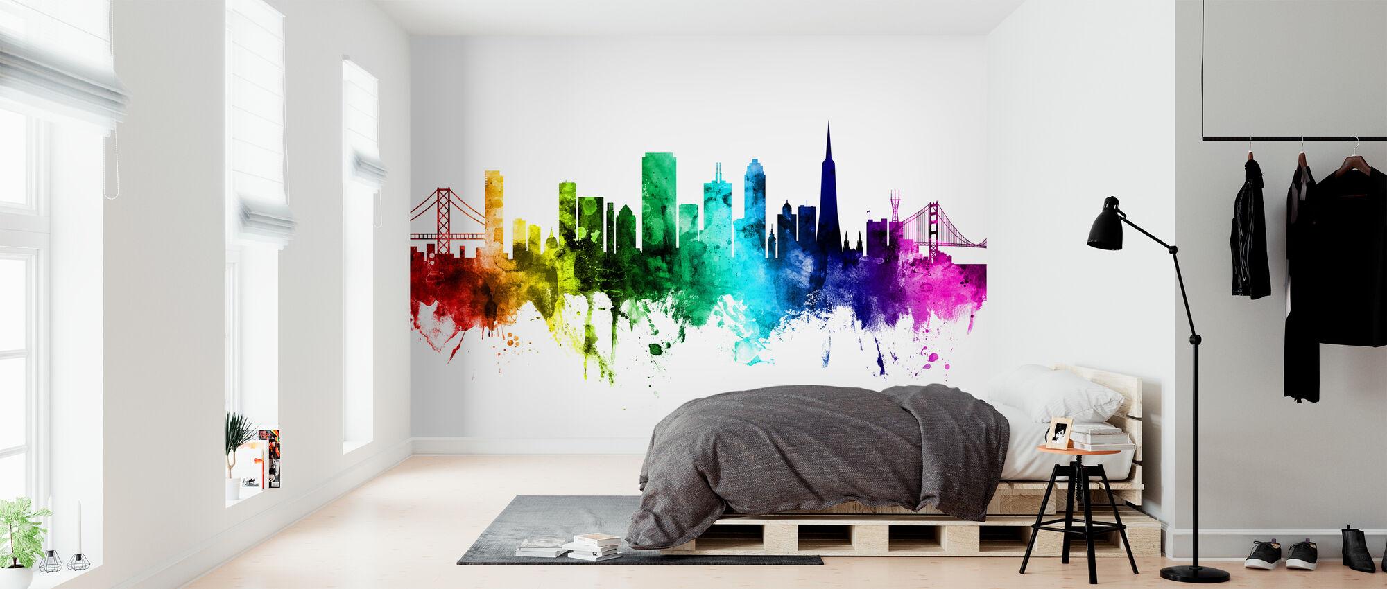 San Francisco City Skyline Rainbow - Behang - Slaapkamer