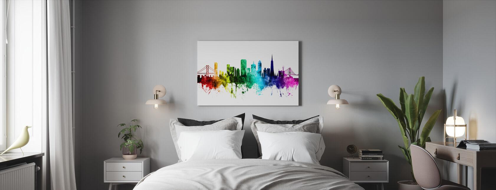 San Francisco City Skyline Rainbow - Canvas print - Bedroom